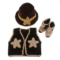 Baby Western Cowboy Hat Boots Vest Costume Outfit Newborn Photography Prop Knitted Cowboy Set Shower Gift