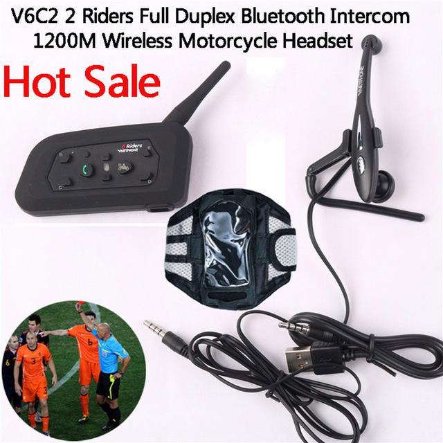 V6C2 1200 M Full Duplex Intercomunicador BT Interphone Bluetooth Casco de La Motocicleta Headset 2 Usuario Max 6 Usuarios Para Bicicletas y árbitro y Juez