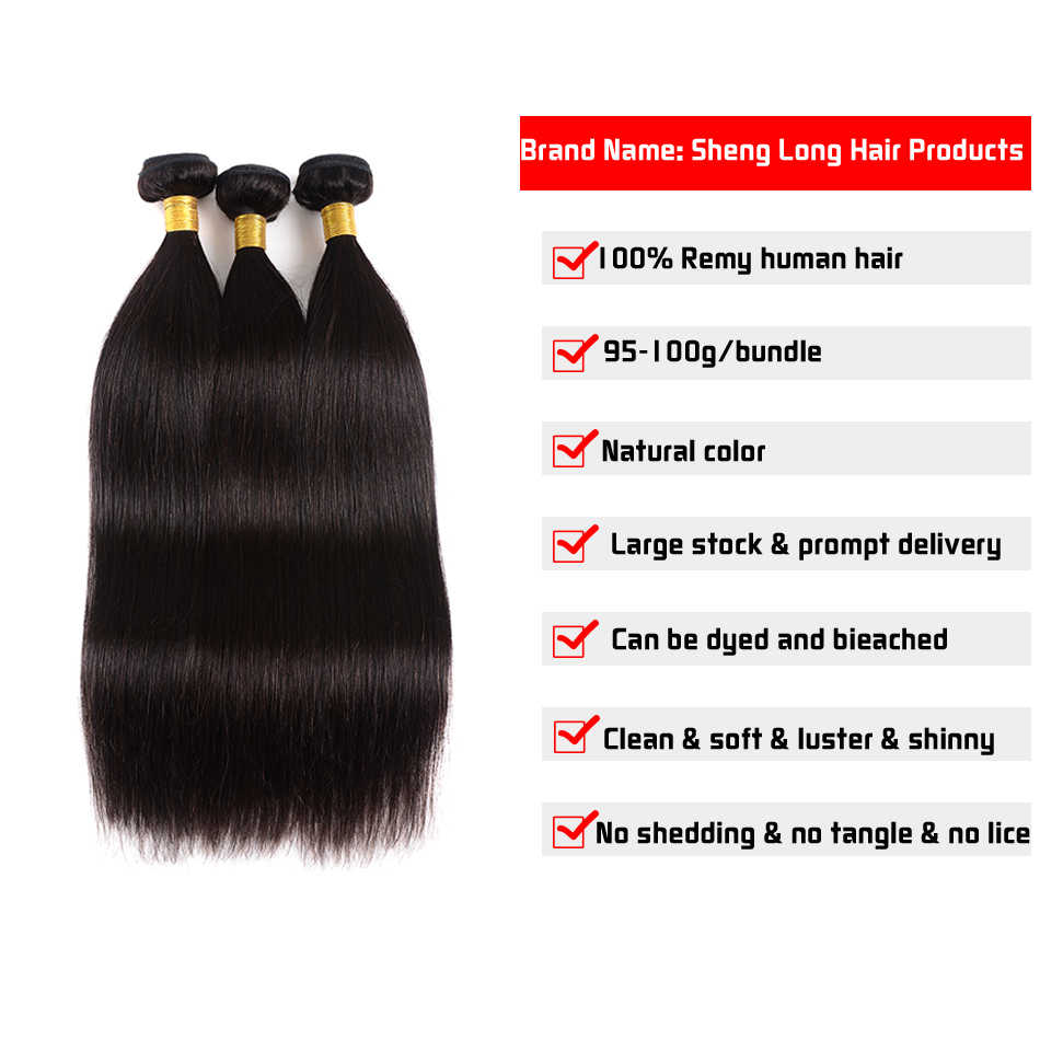 SHENLONG Малайзии пучки волос плетение прямые волосы пучки Remy натуральные волосы Связки можно купить с закрытием естественный Цвет