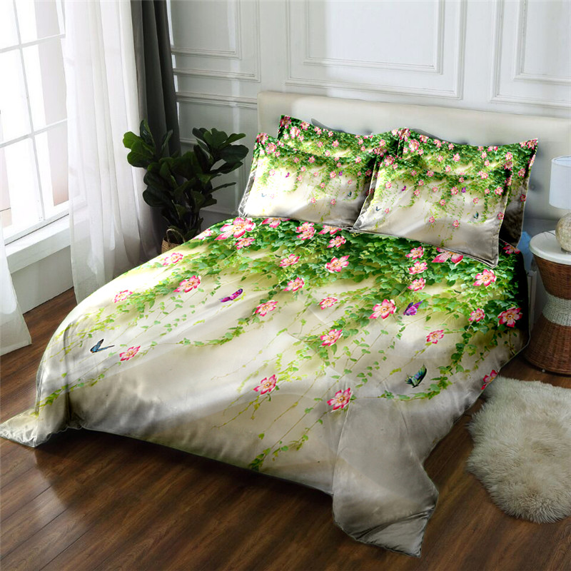 New Product 3D printed 4 Pcs Bedding Set California king Microfiber Bedclothes flowers Bed Linens Duvet Cover Set Bed Sheet Twin