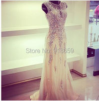 Long Evening Dress 2015 A Line Tulle Crystal Dress Elegant Evening Gown New Arrival Formal Dress