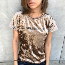 Women T-shirts velvet suit popular ladys Slim Summer letter Print Casual Tops T-Shirts fashion flannel