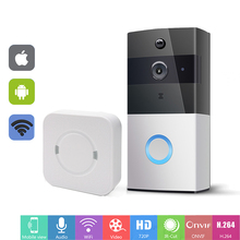 hot deal buy wifi doorbell intercom wireless video door phone 720p door bell camera battery power two way audio sd card slot pir alarm smart
