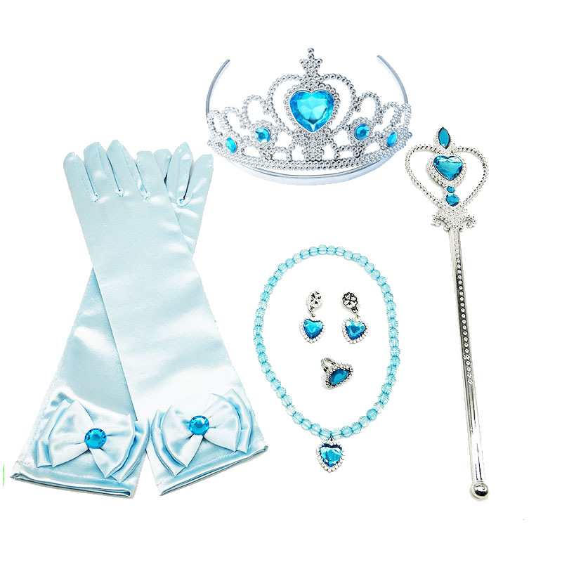 Girls Elsa Anna Accessories Set Kids Party Cosplay Aurora Belle Sofia Snow Queen Snow Flake Magic Wand Tiara Gloves Wig(China)