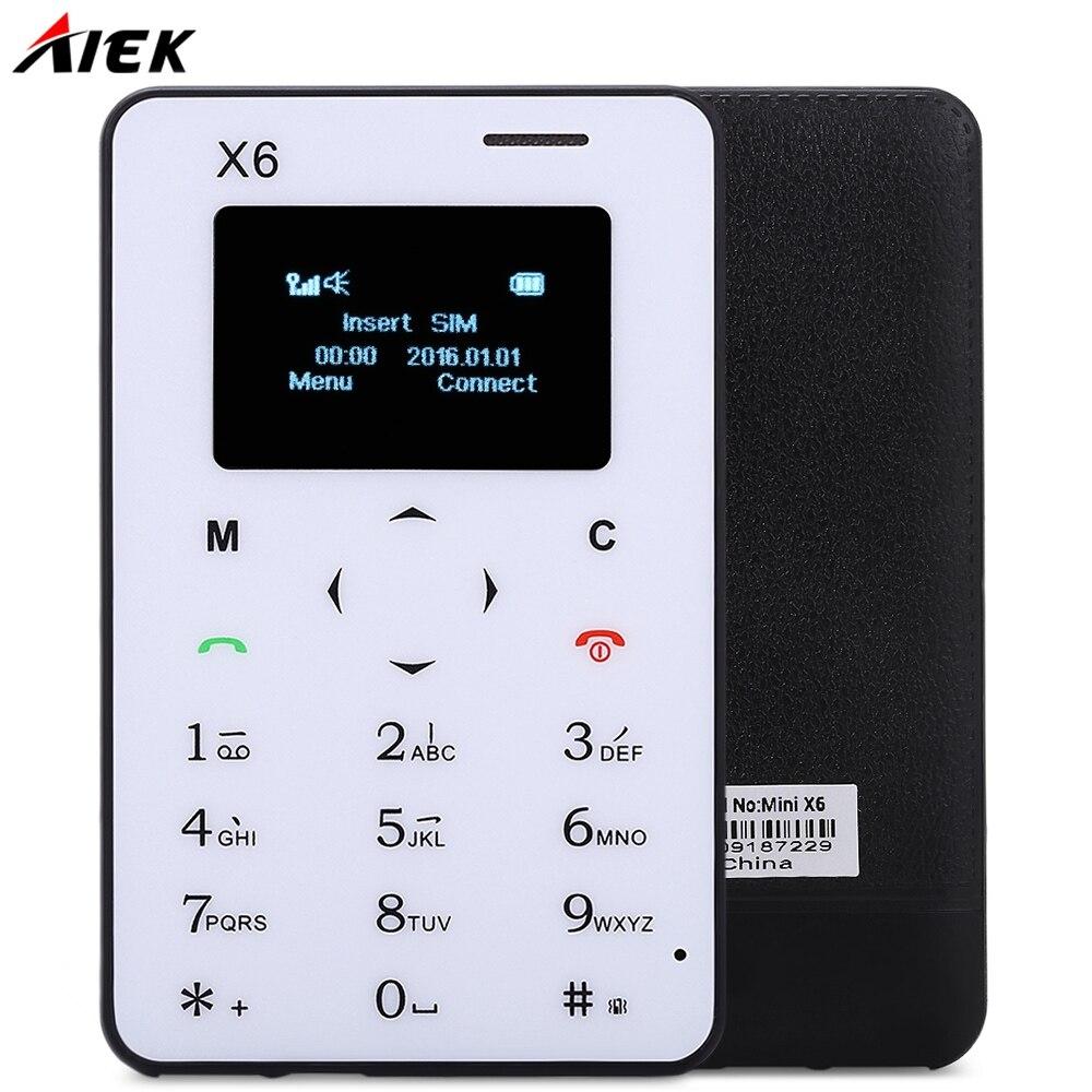 Ультра Тонкий <font><b>AIEK</b></font> X6 1.0 дюймов Quad Band Телефон Карты Bluetooth 3.0 Аудио Плеер FM Низкая Радиация Мини карманные Студенты Мобильный Телефон