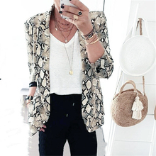 New style 2018 winter fashion woman Leisure Suit Punk Style Snake print Long sleeve Notched Slim