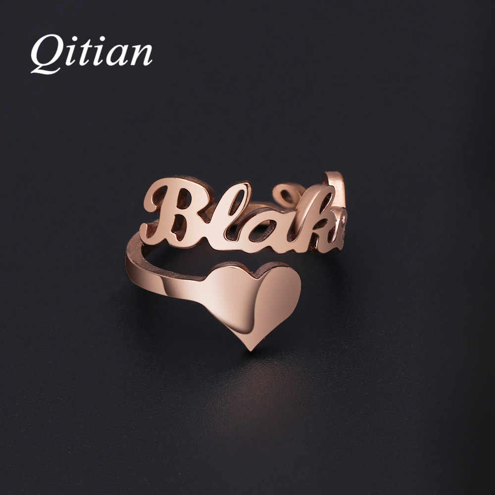 Personalized Name Rings  Gold Color Date Numbers Heart Sprial Ring For Women High Quality Stainless Steel Men Jewelry Not Fade