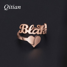 Name-Rings Jewelry Numbers Heart-Sprial-Ring Stainless-Steel Gold-Color Personalized