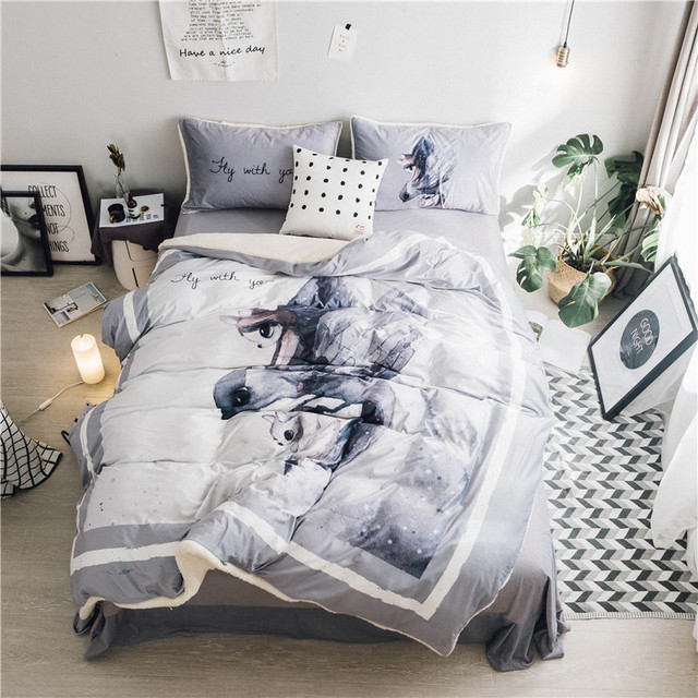 Gray Color 4 Pcs Queen Size Comforter Set Bedding High Quality Cartoon Duvet Cove Bed