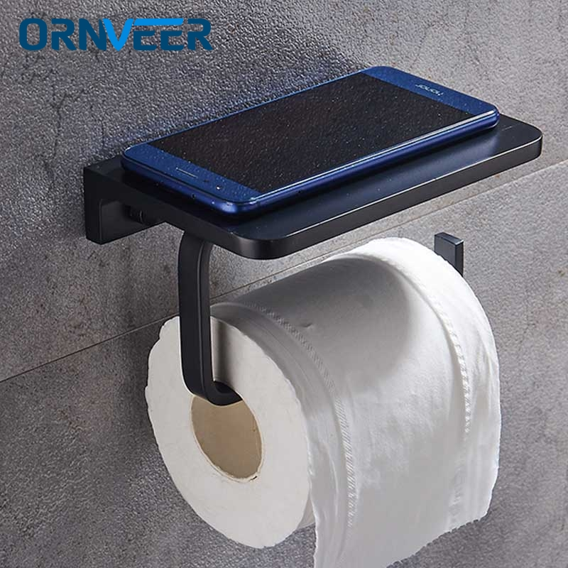 Bathroom Wall Mounted Paper Holders Aluminum Alloy Toilet Roll Tissue Holder For Paper Towel Accessories Black WC Paper ShelfBathroom Wall Mounted Paper Holders Aluminum Alloy Toilet Roll Tissue Holder For Paper Towel Accessories Black WC Paper Shelf