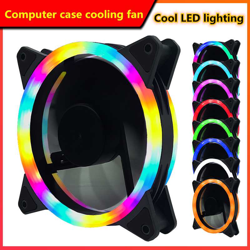 <font><b>120mm</b></font> PC computer case <font><b>cooling</b></font> <font><b>fan</b></font> with LED light 12cm CPU graphics memory cooler 3p 4pin wire <font><b>silent</b></font> <font><b>fan</b></font> image