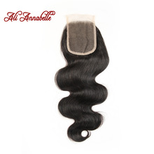 ALI ANNABELLE HAIR Brazilian Body Wave Lace Closure Free Part 4*4 Brazilian Remy Human Hair Lace Closure From 10 to 22 inch