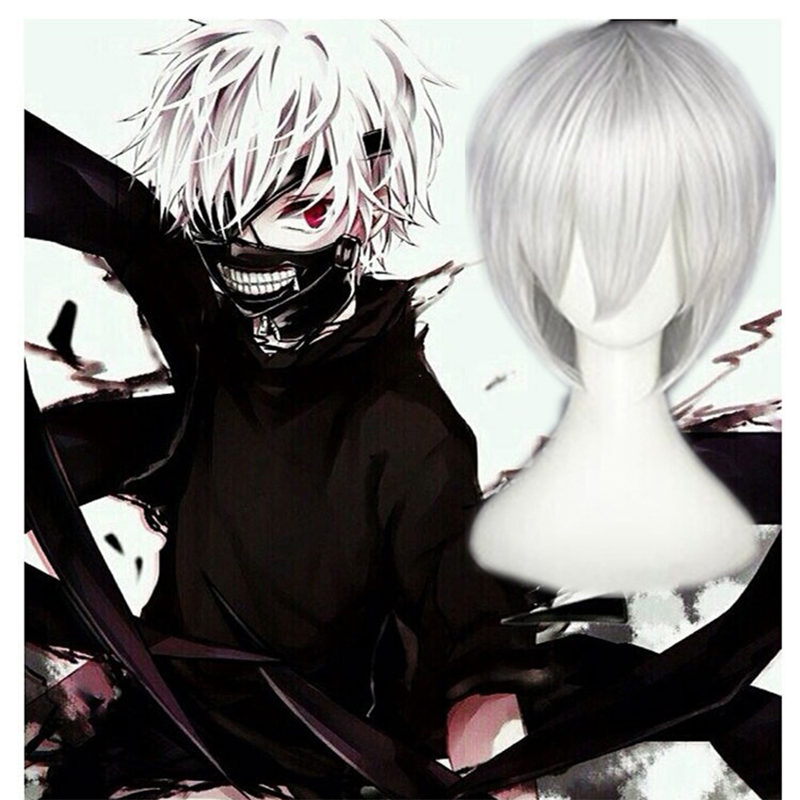 Anime cos wig Tokyo ghoul Kimura yan silver white short hair cosplay wig props Halloween Party Wear Accessories