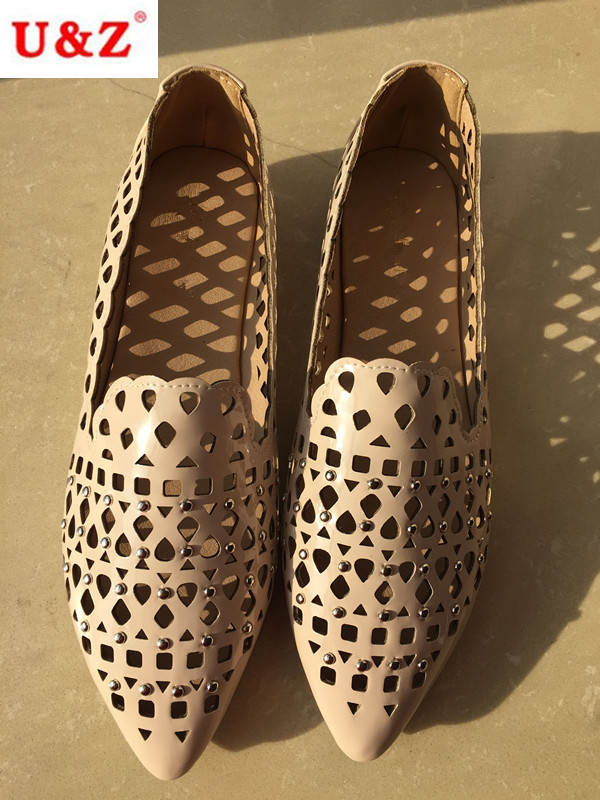 ФОТО 2016 Lovely big bow leather laser perforation hole casual Shoes,Breathable Women loafers Hollow out spring summer flats shoes