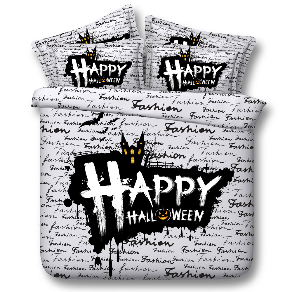 Halloween Black White Words Comforter Bedding Sets Twin