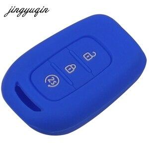 Image 3 - Jingyuqin 3 botões da pele silicone remoto caso chave para renault duster sandero logan clio captur laguna scenic fob titular capa