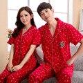 2016 новые пижамы для пары любителей красный печать медведи и снег симпатичные пижамы комплект
