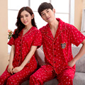 2016 New Pajamas for couples lovers women men red print bears & snow cute pajamas set