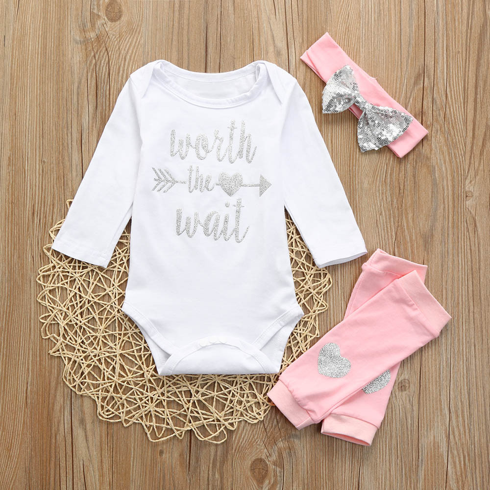 MUQGEW Baby Girls Clothing Sets Newborn Infant Baby Girls Letter Print Romper + Leg Warmer Headband Outfit Set 3pcs /PY 1