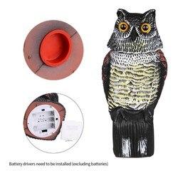 Realista pássaro scarer rotação cabeça som coruja prowler chamariz proteção repelente de insetos controle de pragas espantalho jardim quintal mover