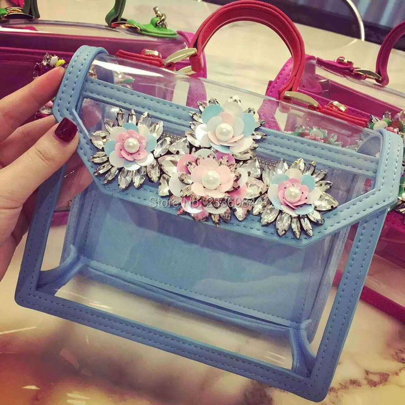 2017 Spring Brand New Transparent PVC Jelly Bag Messenger Bag Clear Diamond Stud Flower Carrie Bag Womens Handbag Shoulder Bag
