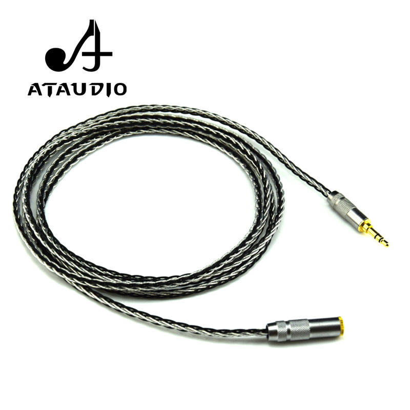ATAUDIO Hifi 3.5mm Audio Extension Cord High Quality Silver-plated 3.5mm Stereo Male to Female Headphone Cable