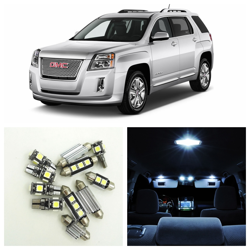 10pcs Xenon White Led Lights Bulbs Interior Package Kit For 2010 2015 Gmc Terrain Map Dome Trunk