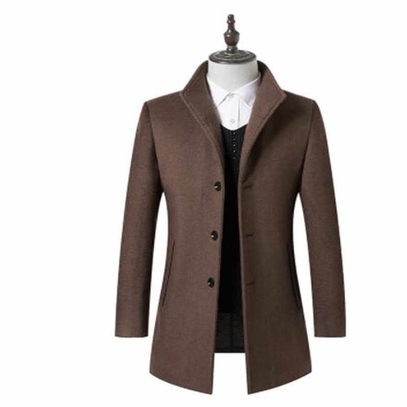 2019 Новинка весны пальто Для мужчин Бизнес высокое качество шерстяные куртки зимние кашемировый Тренч пальто Для мужчин Классические верблюда пальто
