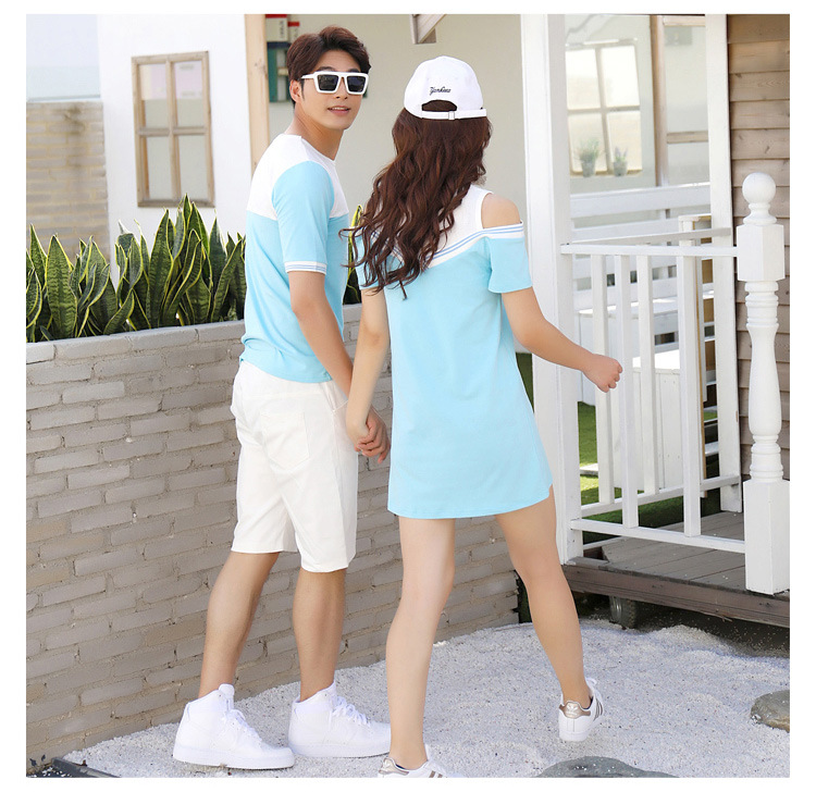 HTB1hBDyclCw3KVjSZFlq6AJkFXaP - Summer Clothes Family Matching Outfits Dad Son Short Sleeve T-Shirt Mother Daughter Dresses Cute Blue White Dress Clothing