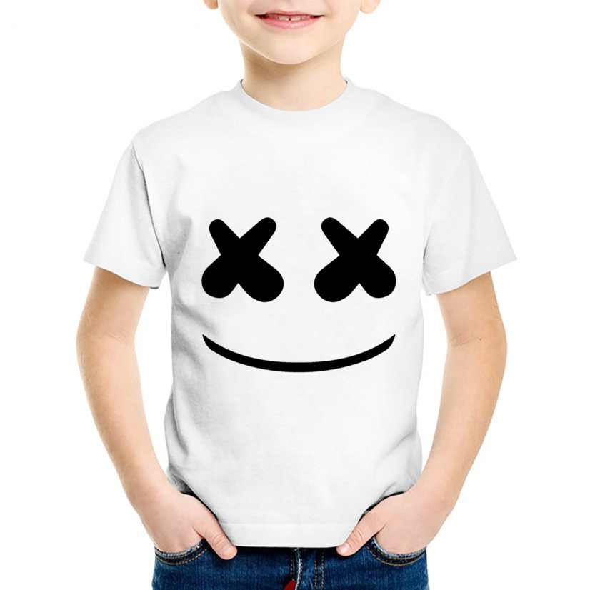 a456c728f9893 Children Fashion Print Marshmello Face Smile Funny T-shirts Kids Cute  Summer Clothes Casual Tops