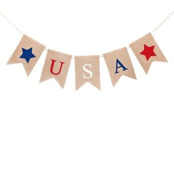 2 uds. 2m bandera Estados Unidos arpillera decorativa Bandera de cola de golondrina guirnalda para el 4 de Julio suministros fiesta colgante decoración Día de la independencia