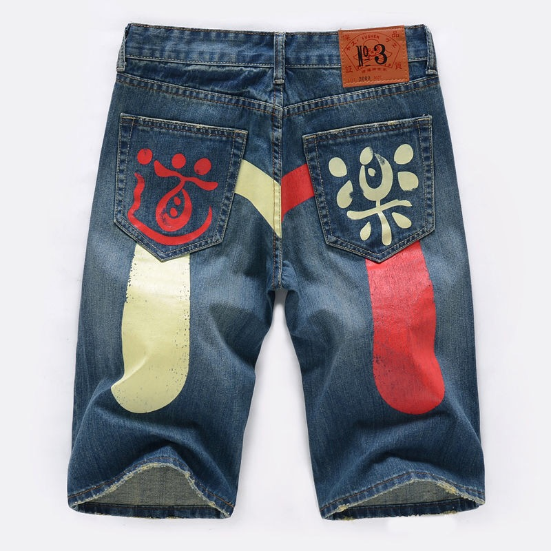 Authentic Evisu Spring Summer New Shelves Men's Casual Denim Shorts Breathable Wash Knee Length Fashion Men's Straight Pants