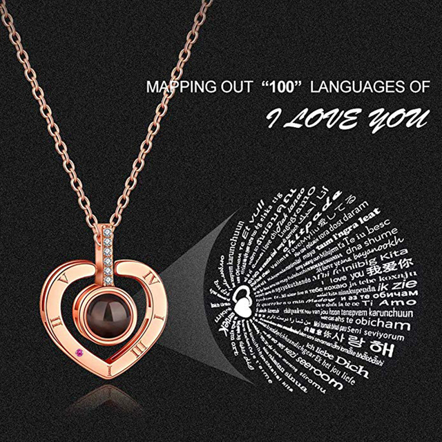 I Love You Necklace 100 Languages Heart Love Necklace Love Memory Projection Pendant Necklace for Women