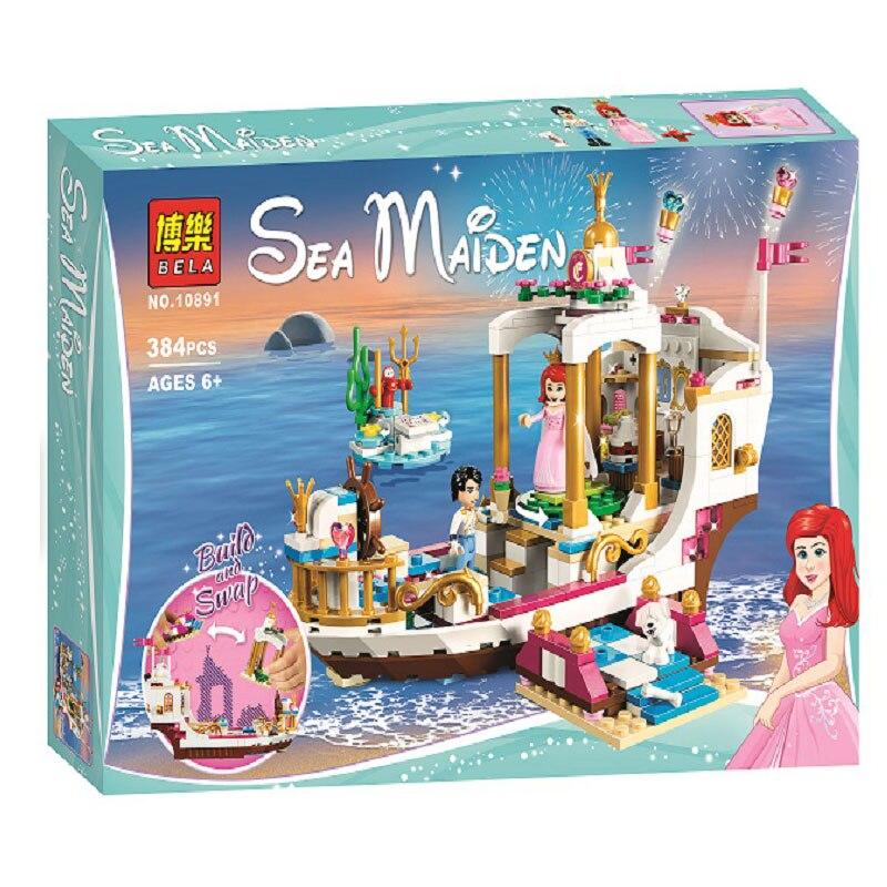 Bela Princess Ariel's Royal Celebration Boat Building Kit Compatible With Legoings 41153 Bricks Toys For Children (384 Pieces)
