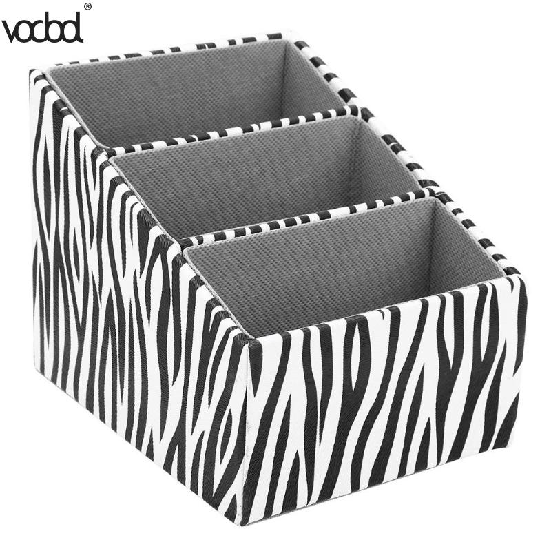 Zebra Striped Leather Remote Control Storage Box Holder Desktop Organizer Cosmetics Pen Box Makeup Brushes KIds Girls Holder