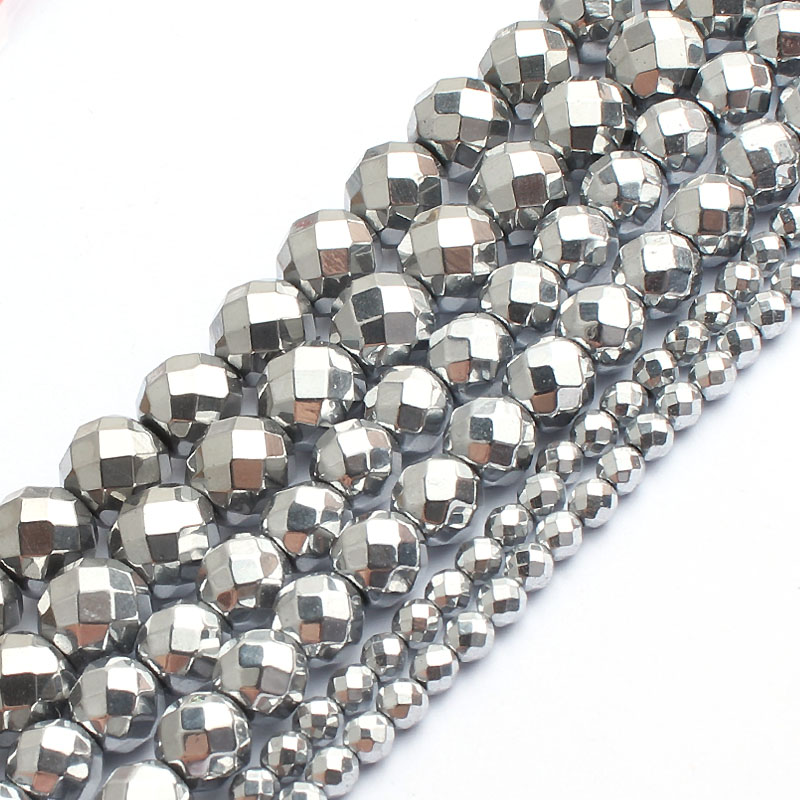 AAA Faceted Silver Rose Gold Hematite Natural Stone Beads Round Loose beads For Jewelry Making 15 quot 2 3 4 6 8 10mm Diy Bracelet in Beads from Jewelry amp Accessories