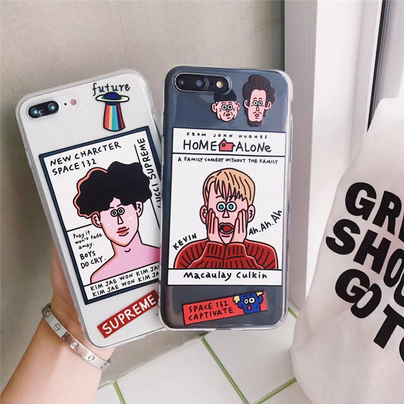 Spoof Home Alone Boy Phone Case Clear Cover for iPhone XS MAX XR X 7 8 6s 6 Plus IMD Soft Coque Cartoon Kawaii boyfriend Cases image
