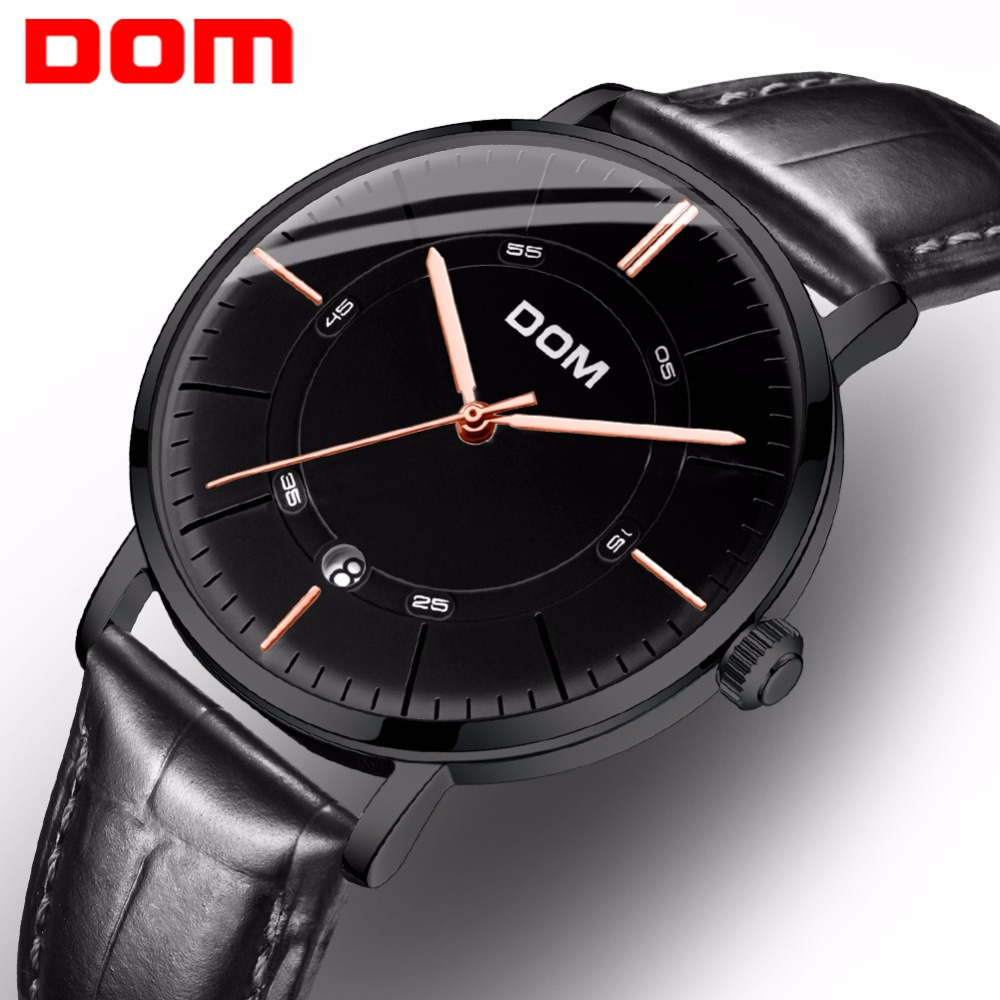 DOM 2018 Black Men&#39s Skeleton WristWatch leather Strap Antique Stylish Casual Automatic Skeleton Mechanical Watches Male M-81 5902001399 men s stylish custom fitting cotton blended shirt black m