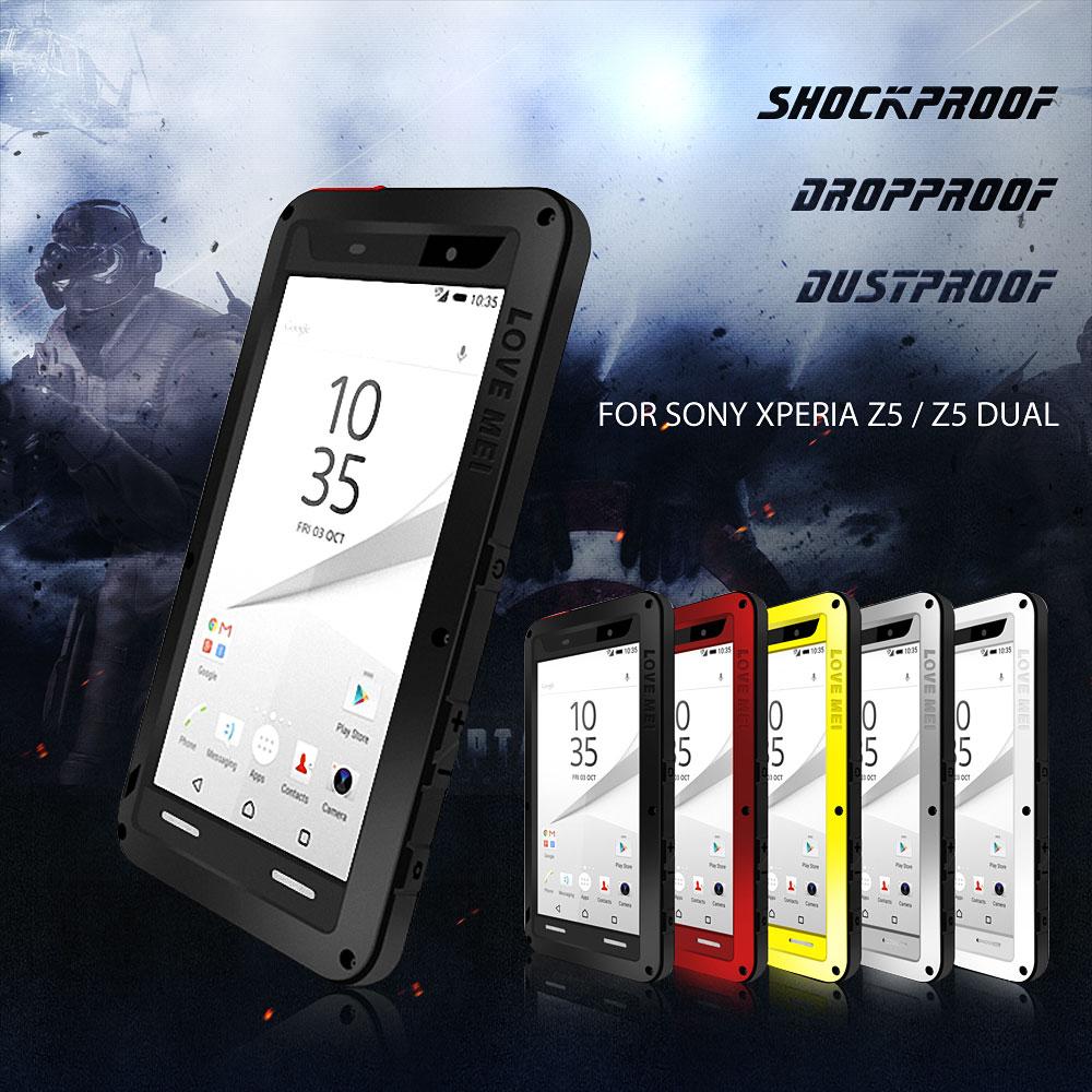Galleria fotografica AMOUR MEI pour Sony Z5 Hybride Dropproof Cas de Téléphone Complet Couvercle De protection pour Sony Xperia Z5 Double <font><b>Smartphone</b></font> Puissant En Plein Air Shell