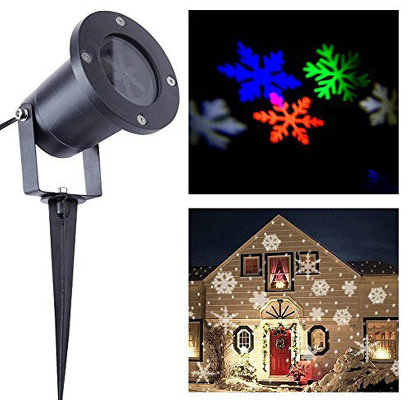 LED Light Christmas Snowflake Signs Lamp Garden Lawn Laser Outdoor Waterproof Lamp Home Decoration Holiday Ambient Spotlight