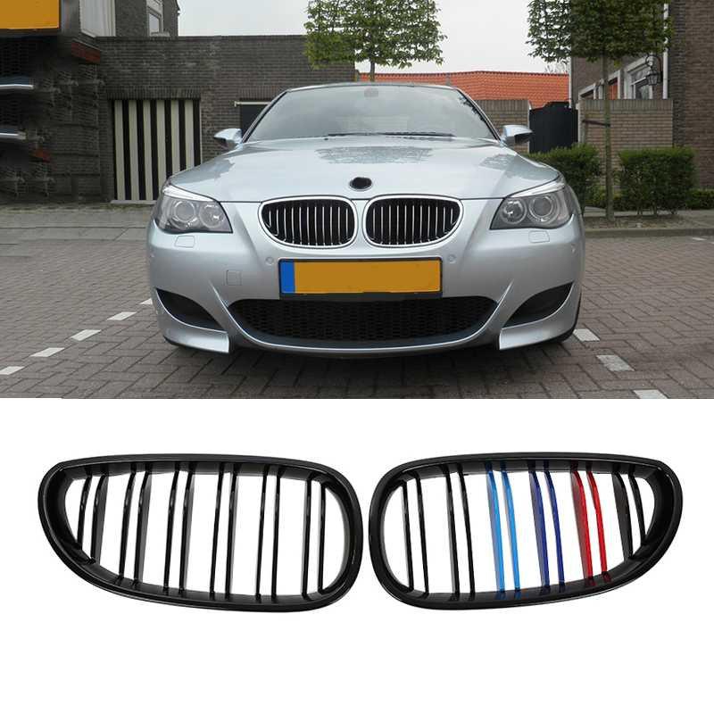 2Pcs Front Kidney Racing Grills for BMW E60 M5 2003-2009 4 Door 4D Sedan Gloss Black M-color Car-styling car grills e39 gloss black m color front kidney grilles double line grills for bmw e39 m5 1997 2003 c 5