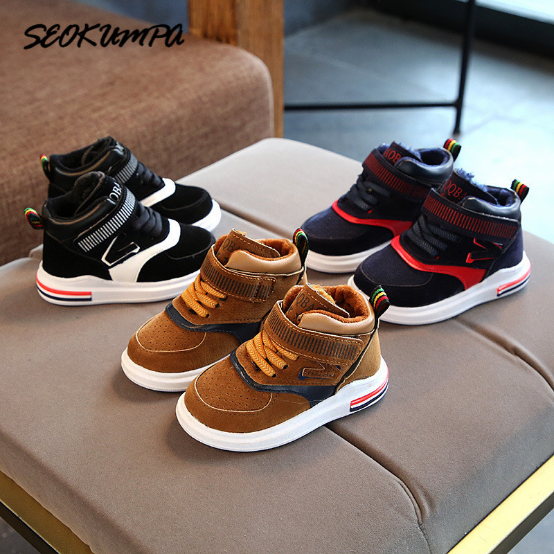 New Winter Baby Girls Boys Cotton Shoes Light Casual Shoes Infant Soft Bottom PU Sport Shoes Children Kids Outdoor Sneaker