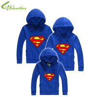 Family Fitted Superman Hoodies Spring Autumn Winter Family Matching Father Mother Kids Cotton Family Matching Outfits