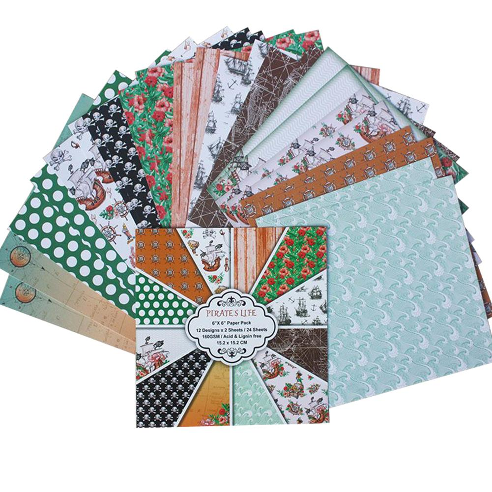 24PCS DIY Album Scrapbooking Planner Card Making Background Paper 6 Inch Single-Sided Printing Pattern Paper