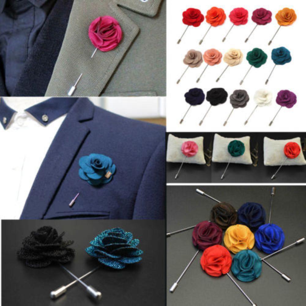 Vogue Men Women Lapel Flower Brooch Pin Camellia Daisy Boutonniere Wedding Decor