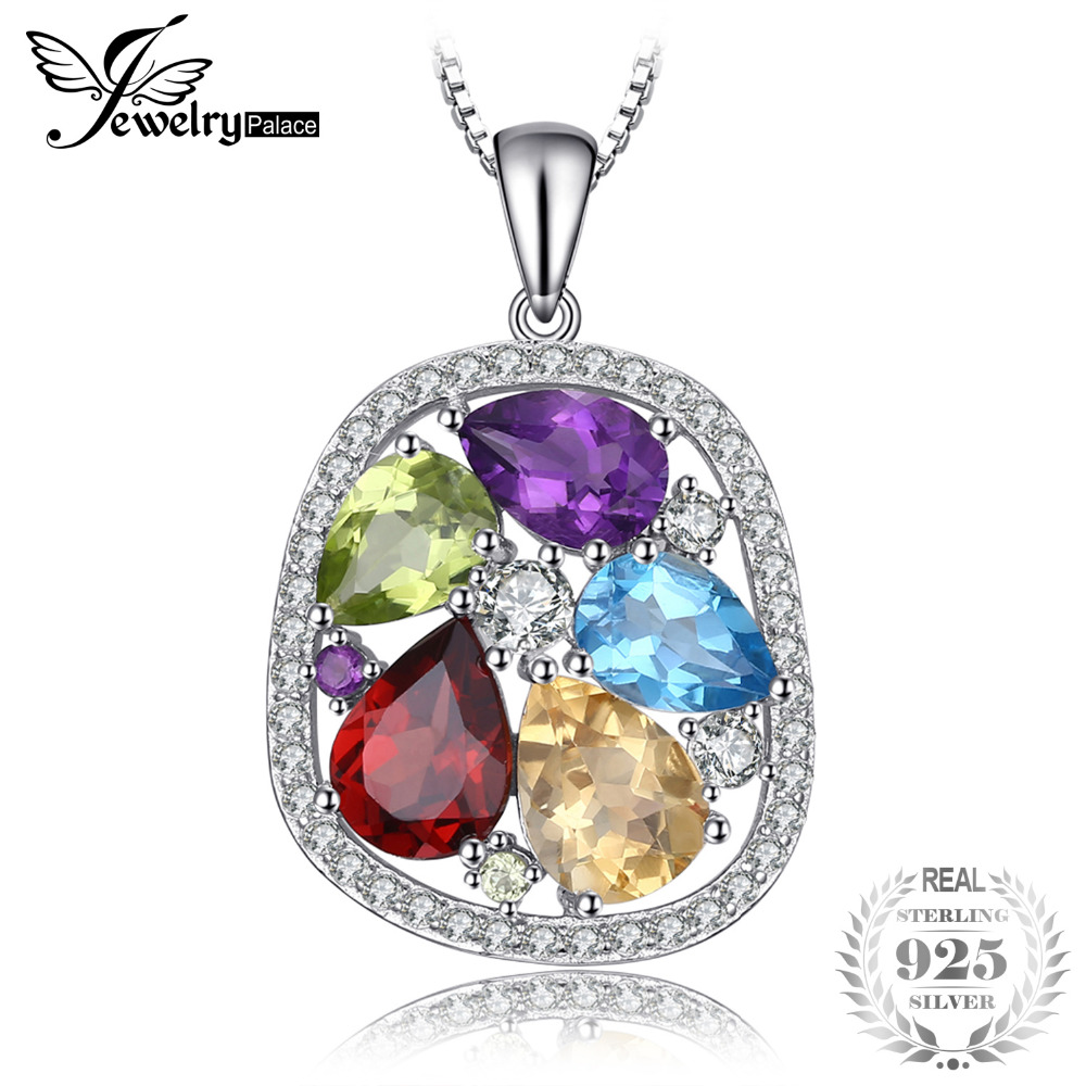 JewelryPalace luxury 4.5ct Genuine Amethyst Garnet Peridot Blue Topaz Pendant 925 Sterling Silver Jewelry Not Include A ChainJewelryPalace luxury 4.5ct Genuine Amethyst Garnet Peridot Blue Topaz Pendant 925 Sterling Silver Jewelry Not Include A Chain