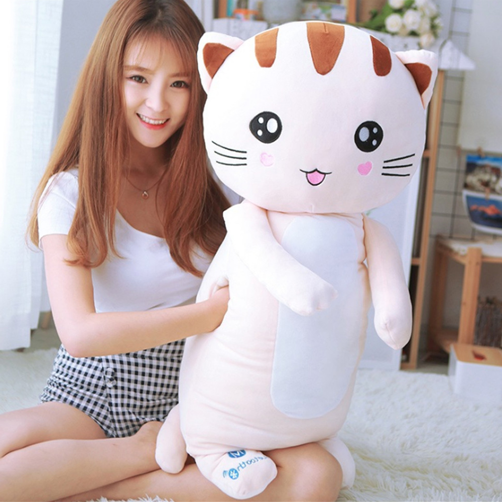 Fancytrader Super Soft Cat Plush Toy Warm Hands Doll Big Stuffed Fluffy Animals Cats Pillow Cushion 90cm super cute big eyes garfield cat with hat plush toy soft doll anime toy baby kids sleep appease korea doll simulation cat animal