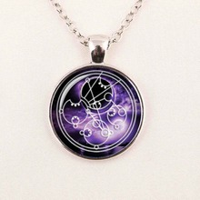 Steampunk drama doctor who necklace dr who timelord companion time lord purple Nebula chain 1pcs/lot Glass mens Pendant jewelry