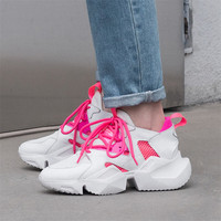CONASCO 2019 High Quality Women Sneakers Leather Breathable Mesh Casual Shoes Lace Up Leisure Shoes Woman Comfotable Flats Shoes