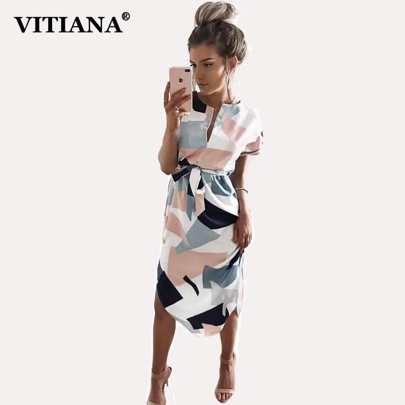 VITIANA 2017 Women Summer Casual Dresses Girls Pencil Knee-Length Short Sleeve Cute Beach Boho Dress Party Clothing Vestidos
